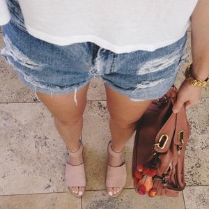 Genuine leather blush pink sandals